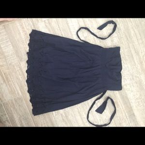 Women's strapless navy dress with crocheting